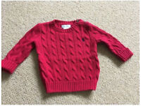 Ralph Lauren Red Cable Knit Jumper Age 6 Months