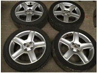 """Peugeot 17"""" alloy wheels and tyres. 307 gti"""