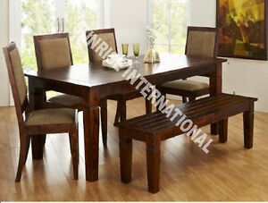 sierra wooden dining table with 4 cushion chairs 1 bench furniture