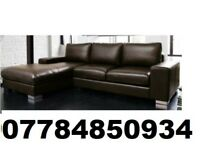 LEATHER CORNER SOFA BLACK OR BROWN