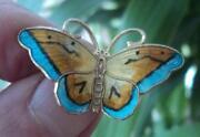 Silver Enamel Butterfly Brooch