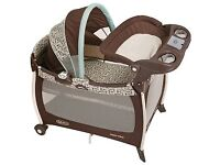 New Graco travel cot with bassinet & changing table, vibration music sounds and mattress.
