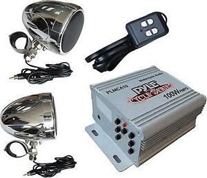 New - TOP QUALITY WATERPROOF AUDIO SYSTEM FOR YOUR MOTORCYCLE - COMPLETE WITH SPEAKERS - AMPLIFIER - TUNER