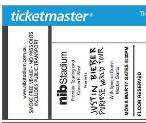 1x Justin Bieber Tickets PERTH 6th March Perth Perth City Area Preview