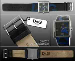 D&G Watch, RARE  Black and Blue Logo Leather Strap DW0037 Windsor Region Ontario image 3