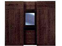 Large Brown Wardrobe - 4 Door, 3 Drawer, 3 Top Cupboard, Vanity Mirror Middle