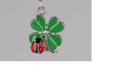 "LADYBUG CLOVER SHAMROCK pendant 925 STERLING SILVER 20"" necklace FREE GIFT BOX"