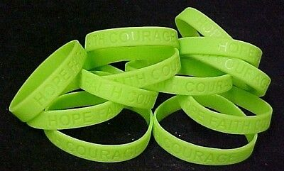 Lime Green Awareness Bracelets 12 Piece Lot Silicone Wristband Cancer Cause New (Cause Bracelets)