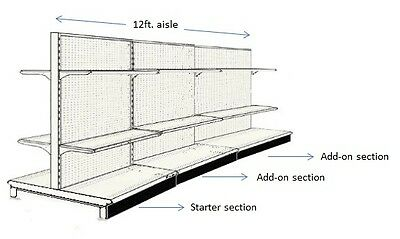 (USED 12' AISLE GONDOLA FOR CONVENIENCE STORE SHELVING 54