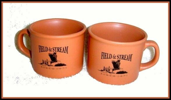 2 Field & Stream Terra Cotta Lg Soup Chili Bowls Mugs Flying Eagle 1871 NEW
