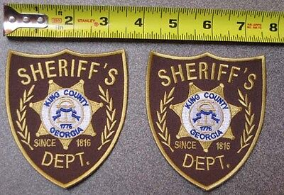 2 x King County SHERIFF PATCH WALKING DEAD HI QUALITY Iron On COSTUME zombie