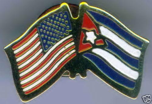 República de Cuba / USA Dual Flag Lapel / Hat Pin NEW