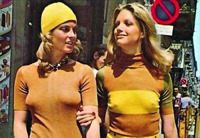 70s SEXY CUTE MOD FASHION GIRLS FREE BEAUTIES ~2x3 WALLET SNAPSHOT REPRINT - 70s Girl Fashion