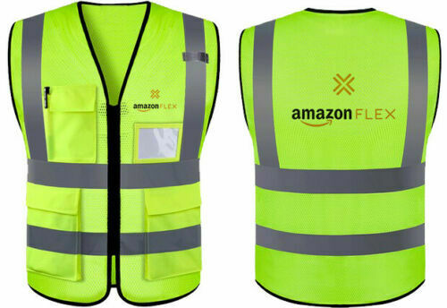 AMAZON Flex Logo Delivery Driver Reflective Vest with 2 Pockets