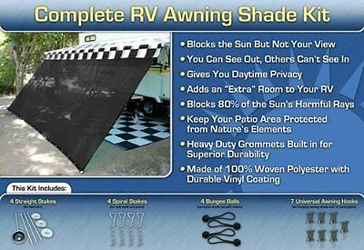 RV Awning Shade Kit Black Motorhome Awning Screen Trailer Kit 12X24