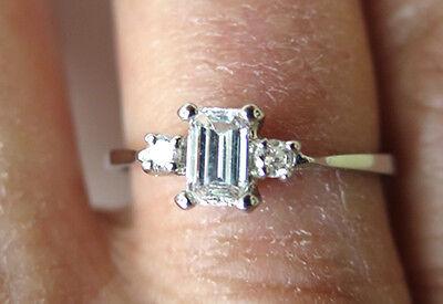 GIA 0.43 ct Emerald cut Diamond with 2 round dia Platinum Engagement Ring E VVS1