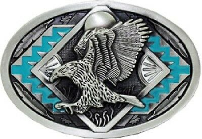 Eagle Design Belt Buckle (Western Design Eagle Belt Buckle Turquoise colors Patriotic)