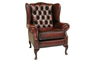 Superbe Leather Wing Back Chairs