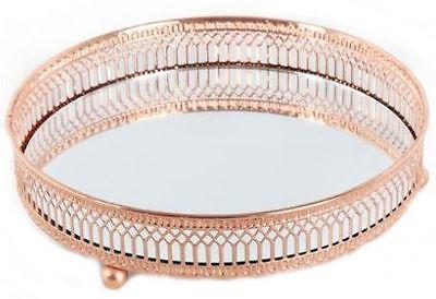 20cm Copper Mirror Base Candle Plate Tea Light Table Centre Piece Tray Decor