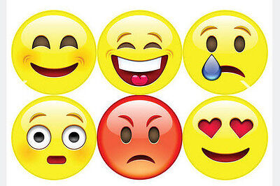 Big Emoji Stickers (Wallies EMOJI MOVIE wall stickers 6 big decals teen decor phone text )