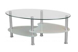 Oval glass coffee table - brand new
