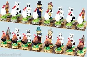 Chess-Set-Pieces-Barnyard-Farm-Animals-NIB