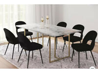 Edith Rectangular Faux Marble Dining Table