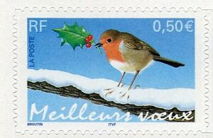 FRANCE-2003-timbre-Autoadhesif-3622-37-OISEAU-ROUGE-GORGE-neuf