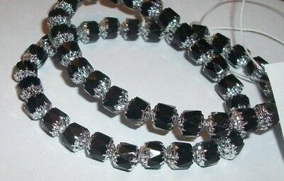 Czech Preciosa round cathedral glass beads Jet black metallic silver 1 strand