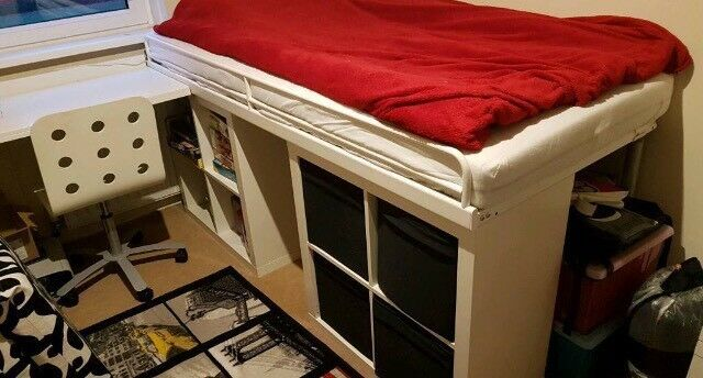 Bespoke Ikea bed and desk combination