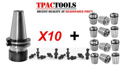 10pc Cat40 Er32 Collet Chuck Ture 20000 Rpm Haas Pull Stud 12pc Er32 Collets New