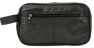 * Mens Large Soft Black Leather Toiletry Wash Bag Travel Toiletries Double #5214