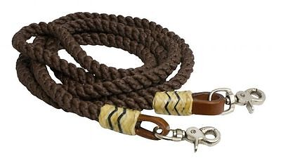 Leather Round Rein - Round Nylon Roping Barrel Racing Reins 8' Rawhide Leather Western Horse BROWN