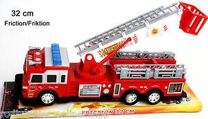 Feuerwehr Spielzeugauto Feuerwehrauto 32cm Auto Leiter rot mit Friktion Einsatz