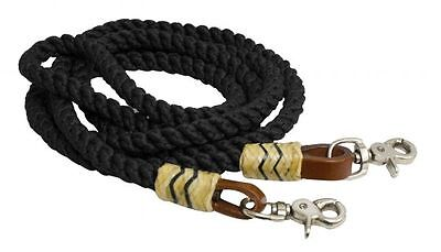 Leather Round Rein - Round Nylon Roping Barrel Racing Reins 8' Rawhide Leather Western Horse BLACK