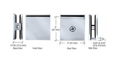 CRL Brushed Satin Chrome Square Style Hole-in-Glass Fixed Panel U-Clamp