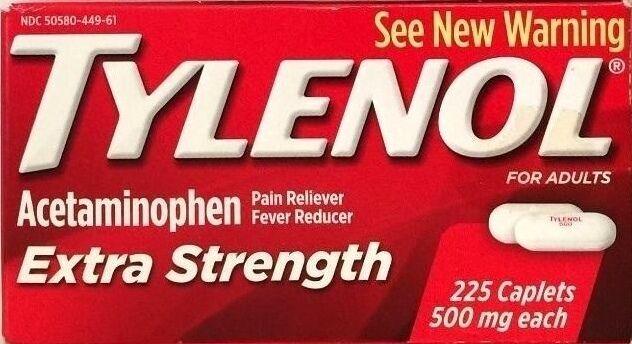 TYLENOL EXTRA STRENGTH 225 TABLETS  500 mg ACETAMINOPHEN PAI