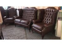 🎉🔥 IMMACULATE LIKE NEW CHESTERFIELDS WINGBACK QUEEN ANNE SUITE BROWN LEATHER CHAIRS & SOFA SETTEE