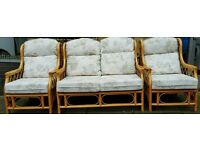 WICKA 2 SEATER SOFA & 2 CHAIRS