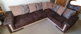 Brown with silver suede/fabric corner sofa - offers are welcome -