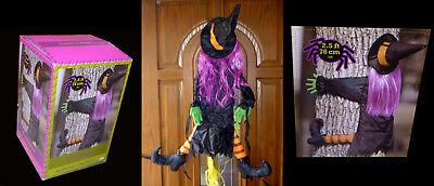 NEW Gemmy Crashing Witch Tree Decoration Prop-Betty Bash!-Purple Hair - Witch Tree Decoration