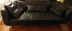 Modern Top Grain Black Leather Sofa