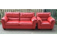 ***NEW EX DISPLAY 100% leather sofa set of 3 seater and armchair for SALE***