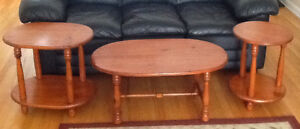 PINE COFFEE & End TABLES, also ANTIQUE STEP STOOL & HIGH CHAIR
