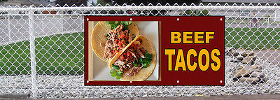 Beef Tacos Food Fair Restaurant Cafe Market Vinyl Banner Sign W  Grommets