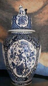 Boch lidded vase:Royal Sphinx Delft Blue Foo Dog Ginger Jar