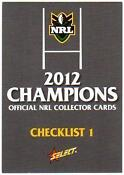 2012 NRL Champion Cards