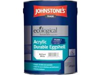 5 Litres Johnstones Ecological Acrylic Eggshell (Brilliant White) RRP £42.99 FREE POSTAGE!!!!!