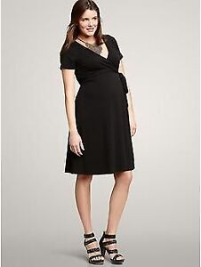 Gap Black Maternity Wrap Dress