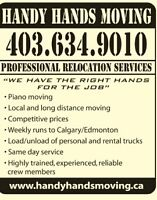 Lethbridge Based Piano & Furniture Moving / Rates start @ $50HR